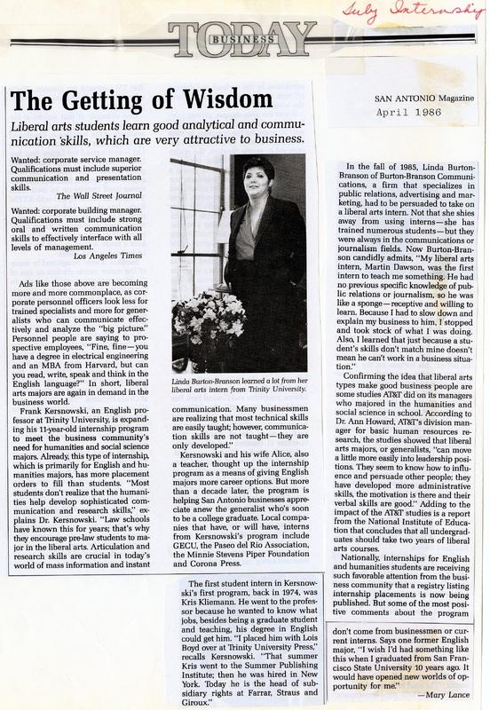 1974: Liberal Arts Internships